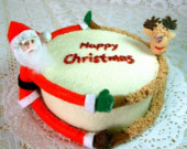 Felt Christmas fondant cake(Santa Claus,reindeer,felt cake,Happy Christmas)----PDF pattern and instructions via Email--F02