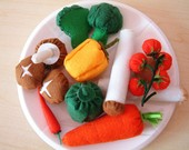 DIY felt vegetables(Carrot,Cherry tomato,Mushroom,Pleurotus,Broccoli,Pepper,Chillies)--PDF Pattern and instructions--F12