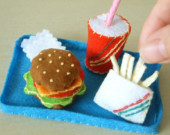 DIY Felt Mini Hamburger course(hamburger,fruit drink,French fries,napkin,tray fast food)--PDF Pattern via Email--F14