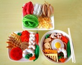 DIY Felt Colored Ramen,Japanese Udon,Bowtie pasta(14 in 1)--PDF Patterns and instructions via Email--F15