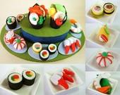 DIY felt Rotating Sushi set PDF Pattern via Email--F22