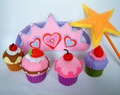 Felt food pattern-Cupcake,muffin,star wand,crown-PDF via Email-F25