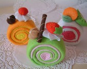 Felt food pattern-Most easy,Roll cake--PDF Pattern via Email--F29