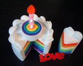 DIY felt rainbow cake(double tiers)---PDF Pattern via Email--F30