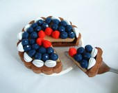 DIY felt blueberry tart---PDF Pattern via Email--F32