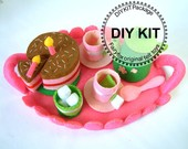 DIY Felt Tea time(tray,tea top,cups,chocolate cake)Kit Package--K-F23