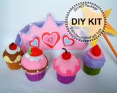 DIY Felt Cupcakes,crown,star wand Kit Package--K-F25