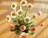 Daisy Bloom made from felt--Flower Arrangement,Dandelion--PDF Pattern and instructions via Email--P01