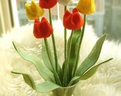 Felt Flower arrangement--Tulip--PDF Pattern and instructions via Email--P02