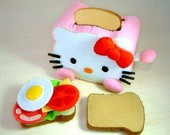DIY felt Toaster and Sandwich(Toaster,Whole-wheat toast, fried egg, ham, lettuce leaf, cheese piece, tomato piece)--PDF Pattern via Email--T03